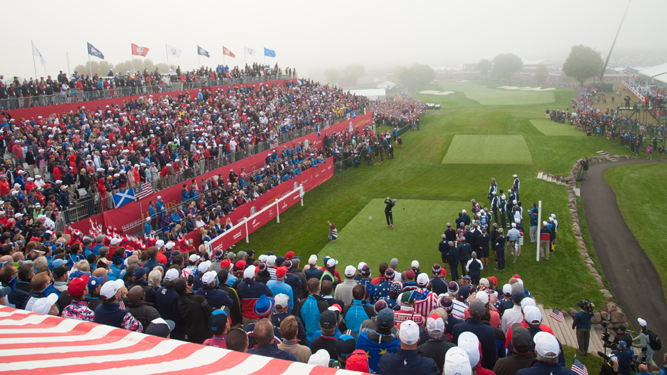 Rickie Fowler tees off during the morning session of the Ryder Cup.