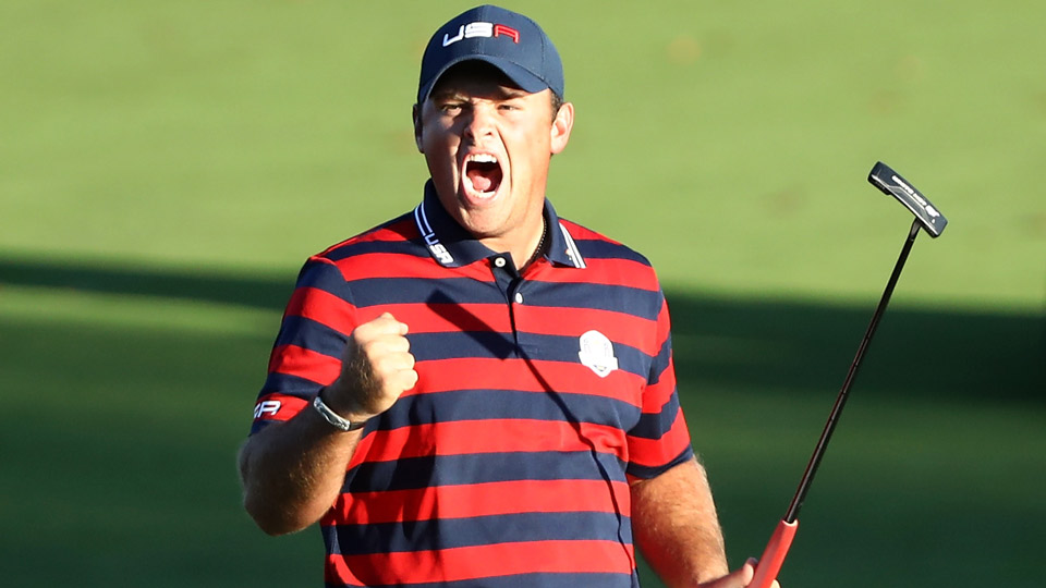 Patrick Reed pictured here on Saturday at the Ryder Cup.