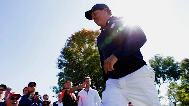 Phil Mickelson of the United States walks between holes during afternoon fourball matches of the 2016 Ryder Cup at Hazeltine National Golf Club.