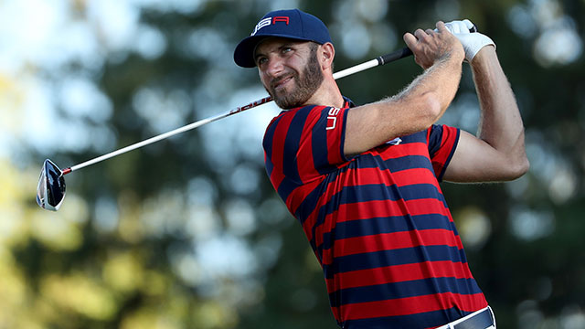 Dustin Johnson of the United States hits off the 16th tee during afternoon fourball matches of the 2016 Ryder Cup at Hazeltine National Golf Club.