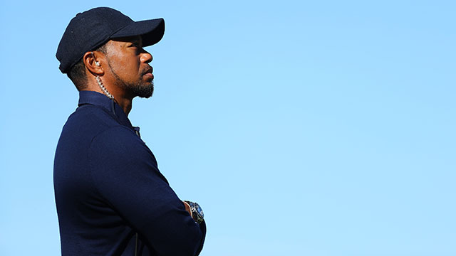 Vice-captain Tiger Woods of the United States looks on during morning foursome matches of the 2016 Ryder Cup at Hazeltine National Golf Club.