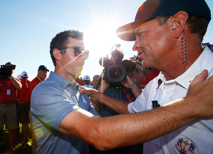 European stalwart Rory McIlroy congratulated U.S. captain Davis Love on the victory.