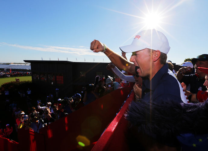 Jordan Spieth celebrated his first Ryder Cup victory.