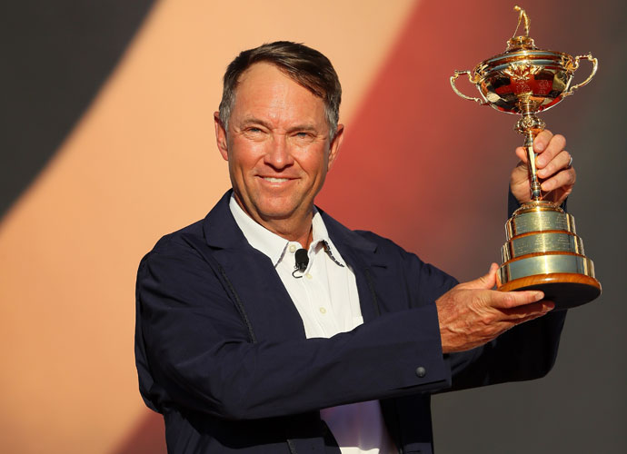 U.S. captain Davis Love III lifted the trophy for his team.