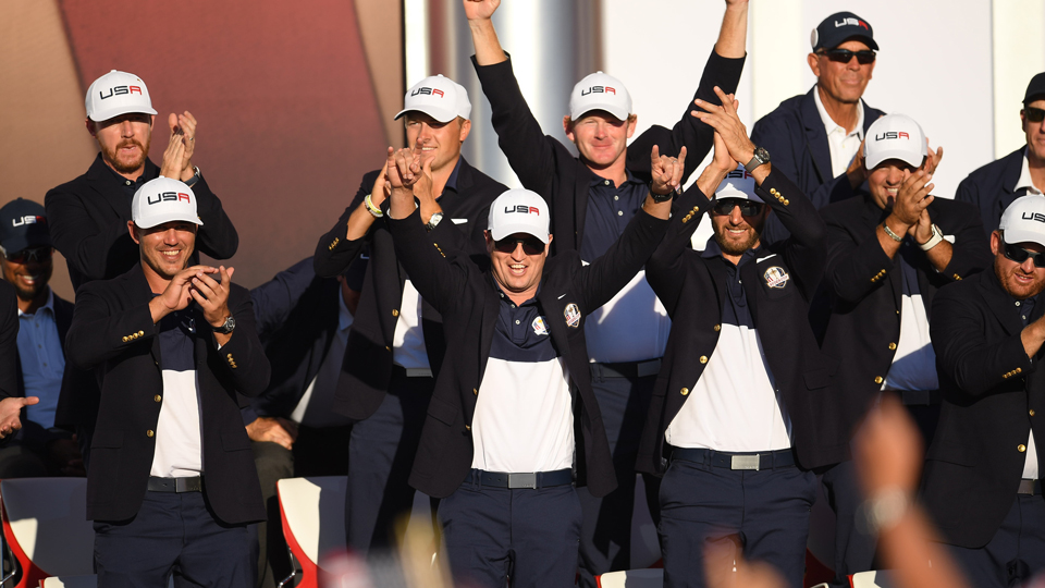 The American team rejoices in victory after beating the Europeans 17-11.