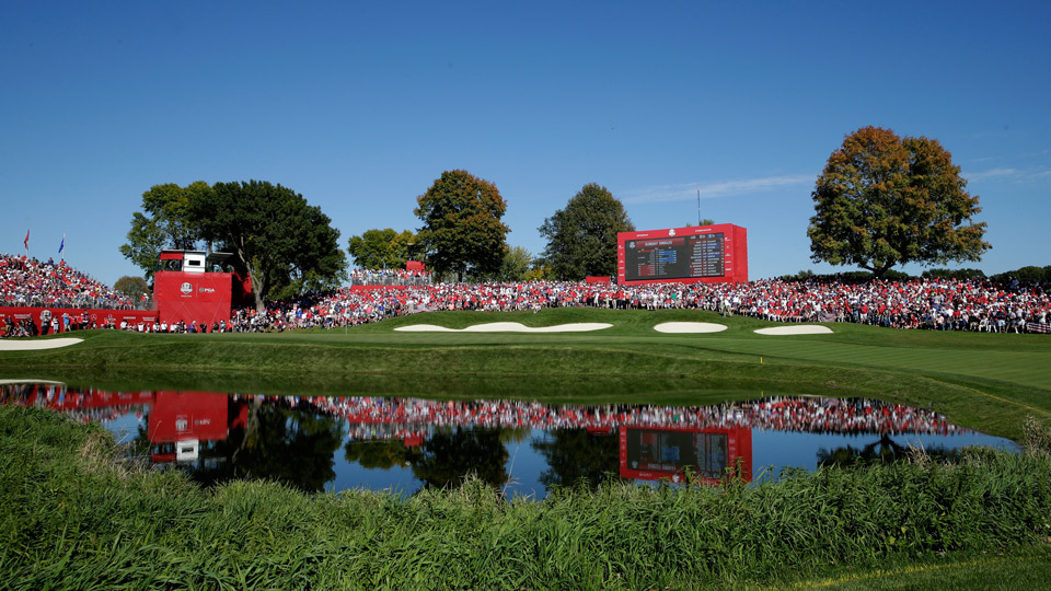 A view of the pivotal 16th hole at Hazeltine during the Ryder Cup. This hole normally plays as the 7th.