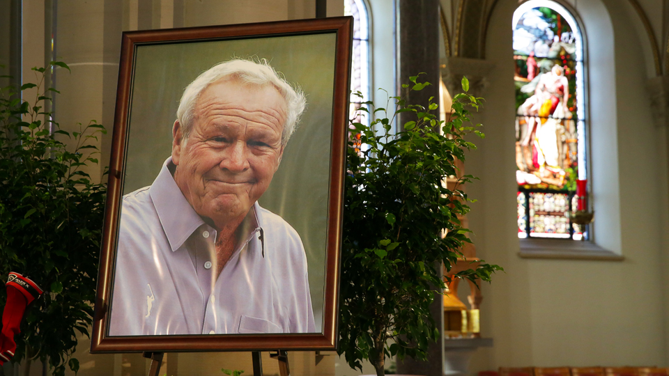 Arnold Palmer's portrait is displayed on the altar during a celebration of Arnold Palmer at Saint Vincent College on Oct. 4, 2016, in Latrobe, Pennsylvania.