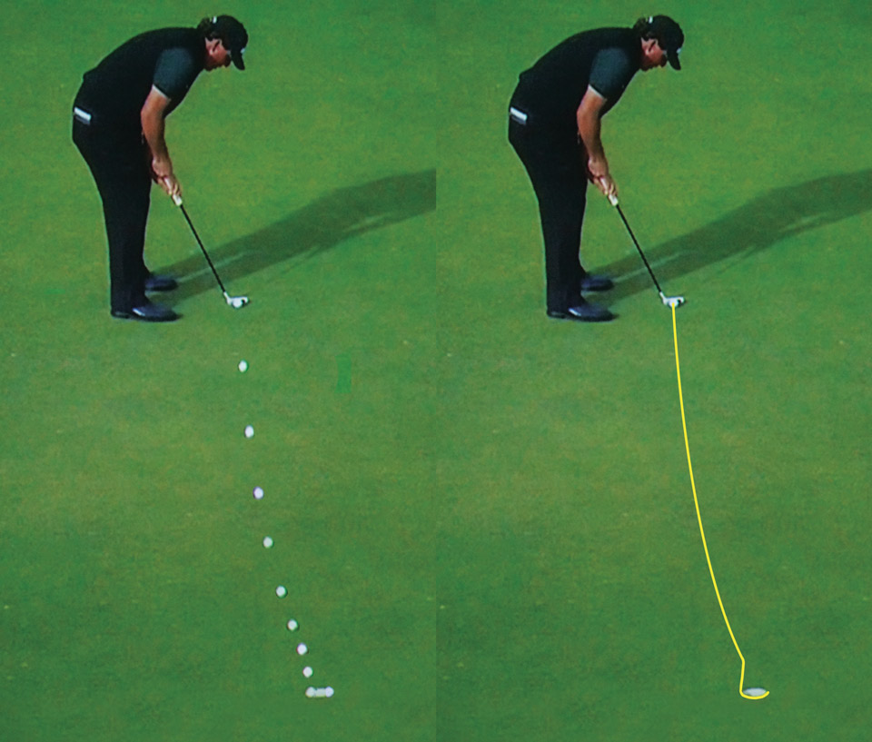 The path of Phil Mickelson's putt for 62 in round 1 of the 2016 British Open.