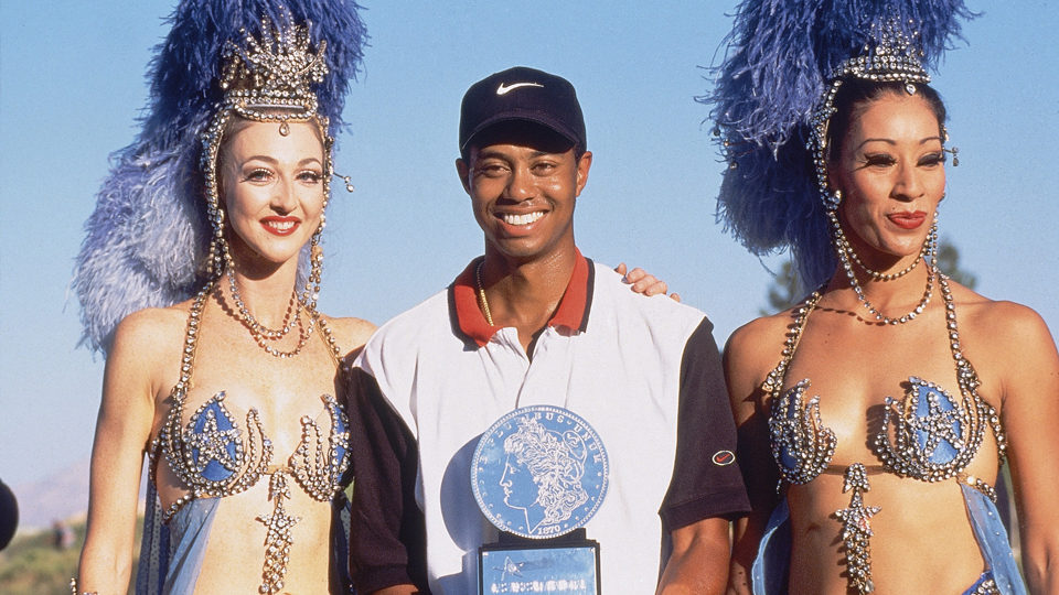 This was the trophy ceremony at Woods's first career win.