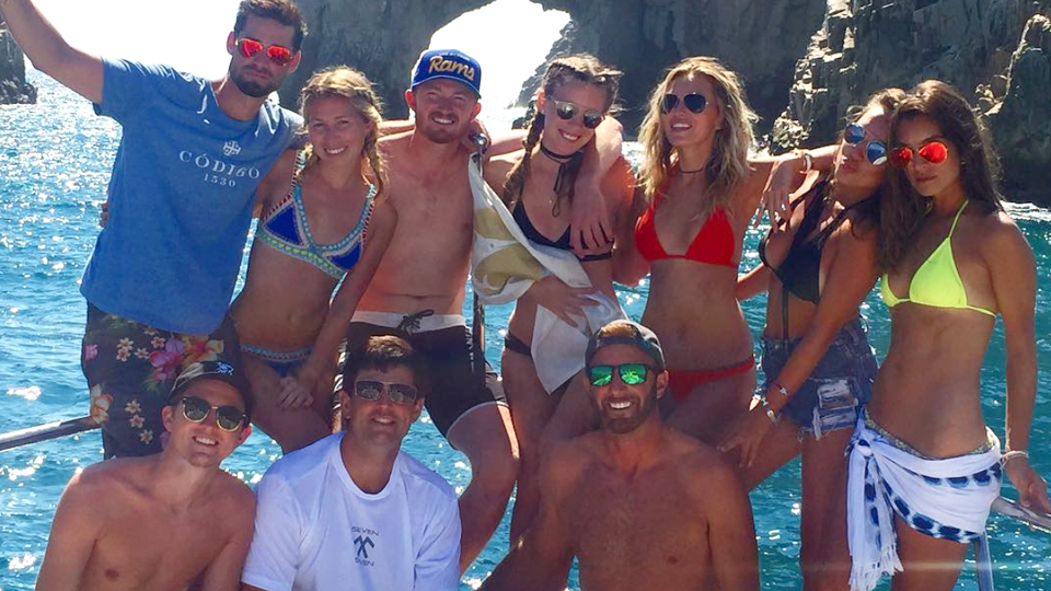 Dustin Johnson and Paulina Gretzky seem to be having fun after the Americans' Ryder Cup win.