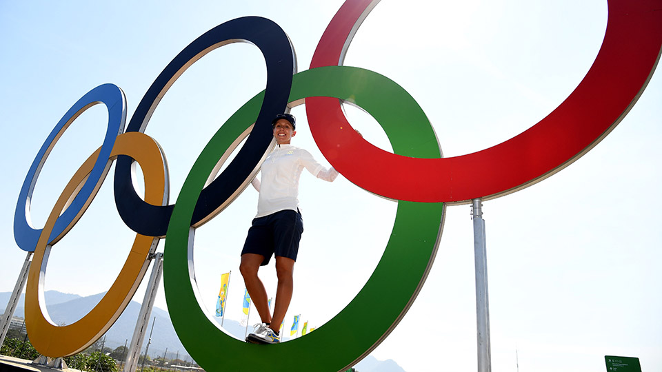 Pernilla Lindberg of Sweden pictured with the Olympic rings ahead of the Rio 2016 Olympic Games.