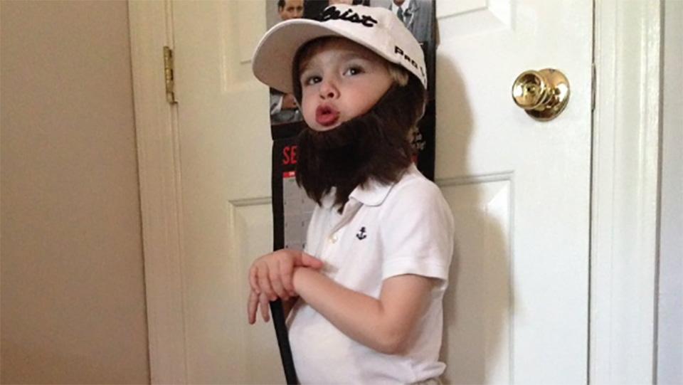 Tate Price, 4, models his Andrew 'Beef' Johnston Halloween costume.
