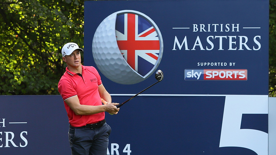 Alex Noren of Sweden hits his tee shot on the fifth hole during the third round of the British Masters at The Grove on October 15, 2016 in Watford, England.