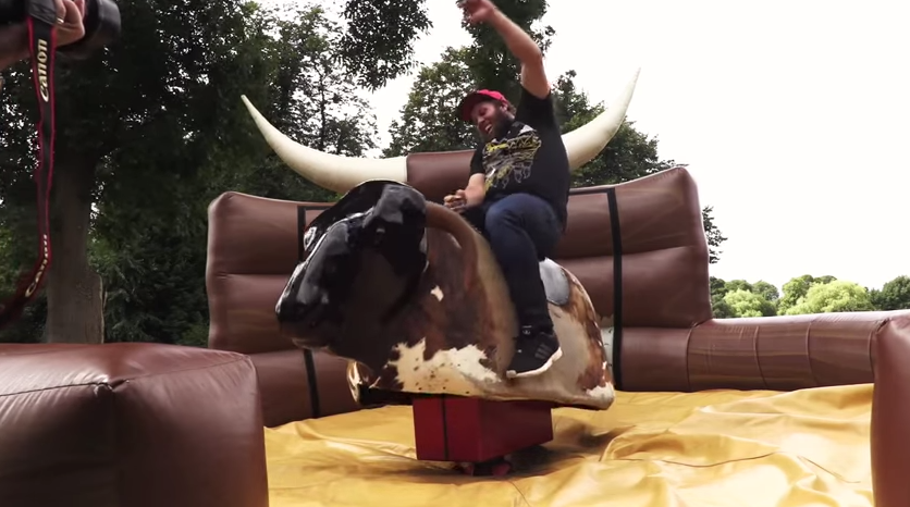 It didn't take long for new PGA Tour rookie Beef Johnston to be bucked off a mechanical bull.