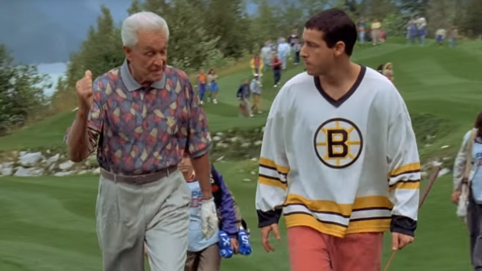 "Bob Barker and Adam Sandler in ""Happy Gilmore."""