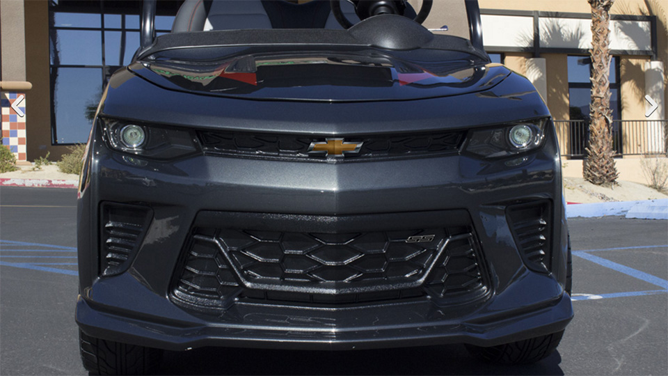 The Chevy Camaro Fifty cart features actual Camaro badges.