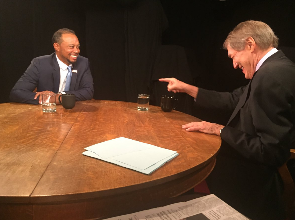 Tiger Woods and Charlie Rose