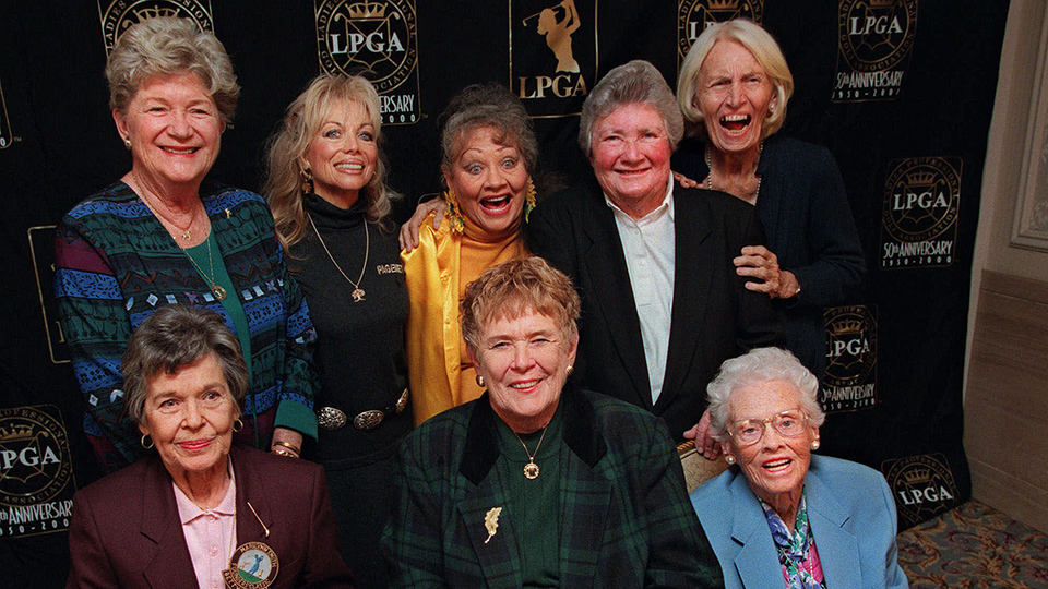 Eight founders of the LPGA pose at a celebration of the LPGA's 50th anniversary in 1999. TL-R Marilynn Smith, Marlene Hagge, Alice Bauer, Louise Suggs, Betty Jameson. BL-R Bettye Sanoff, Shirley Spork, Patty Berg.