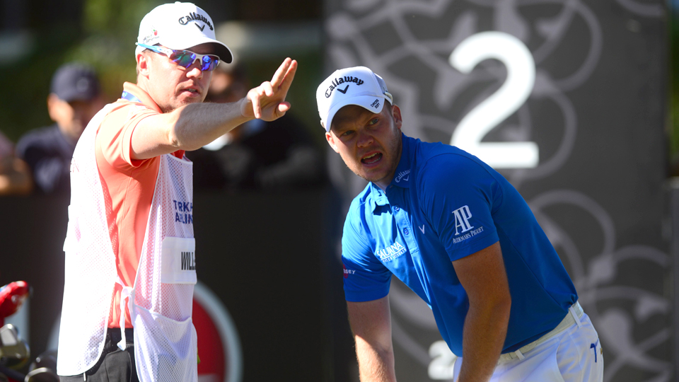 Danny Willett watches a shot during the Turkish Airlines Open at the Regnum Carya Golf & Spa Resort.