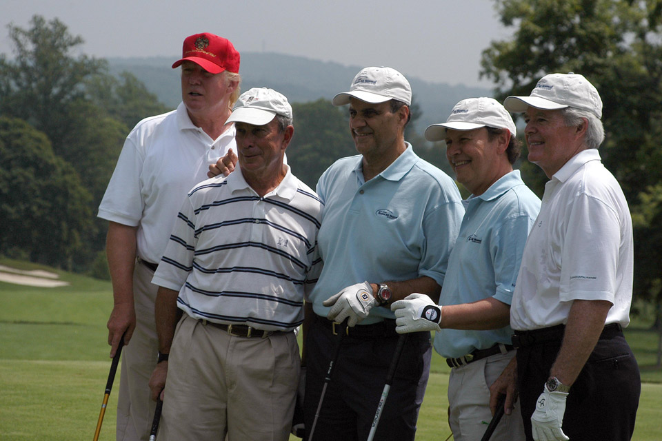Donald Trump, Mayor Michael Bloomberg, Joe Torre, Billy Crystal and Bobby Devlin attend The Fourth Annual Joe Torre Safe at Home Foundation Golf Classic at Trump National Golf Course on July 20, 2007 in Briarcliff Manor, NY.