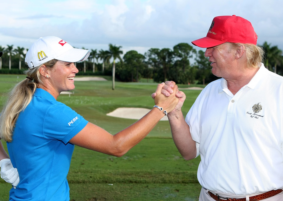 LPGA player Suzann Pettersen of Norway is greeted by Donald Trump prior to the start of the ADT Championship at the Trump International Golf Club on November 14, 2007 in West Palm Beach, Florida.