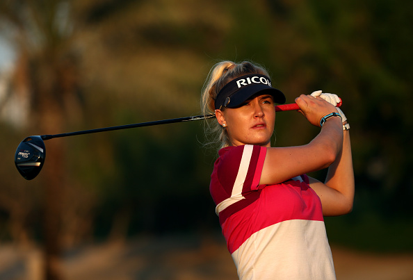harley Hull of England in action during the second round of the Omega Dubai Ladies Masters on the Majlis Course at the Emirates Golf Club.
