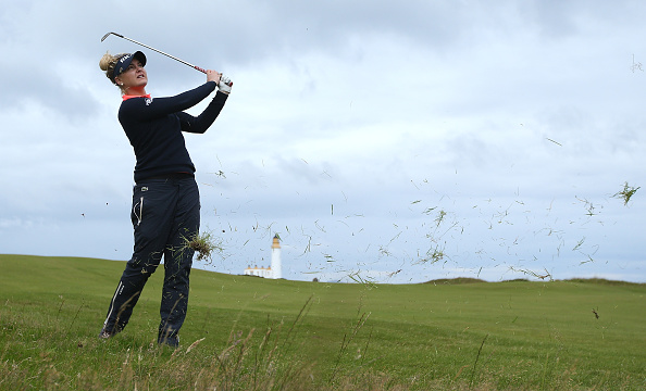 Charley Hull of England hits her 2nd shot on the 10th hole during the Second Round of the Ricoh Women's British Open at Turnberry Golf Club.