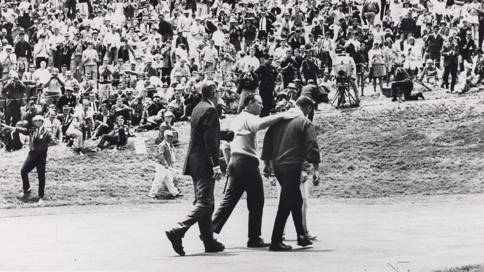 Palmer was inconsolable after his loss to Billy Casper (center) at the '66 U.S. Open.