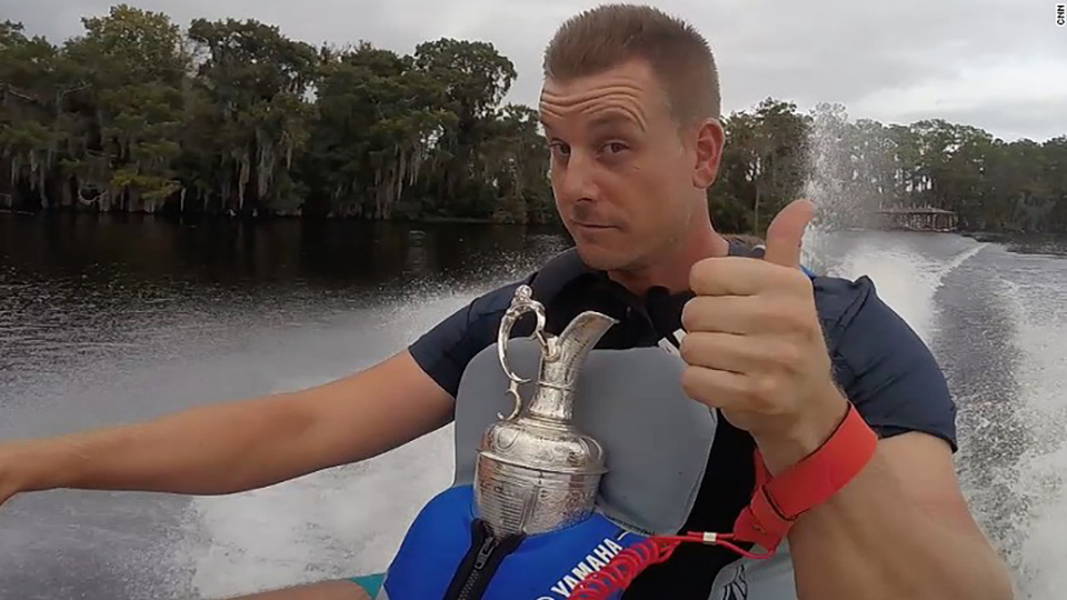 Thumbs up: everyone remained secure during Henrik Stenson's Claret Jug joy ride.