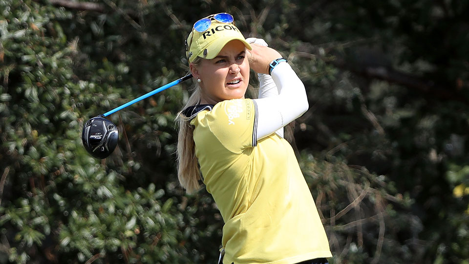 Charley Hull tees off on the sixth hole during the third round of the 2016 CME Group Tour Championship at Tiburon Golf Club.