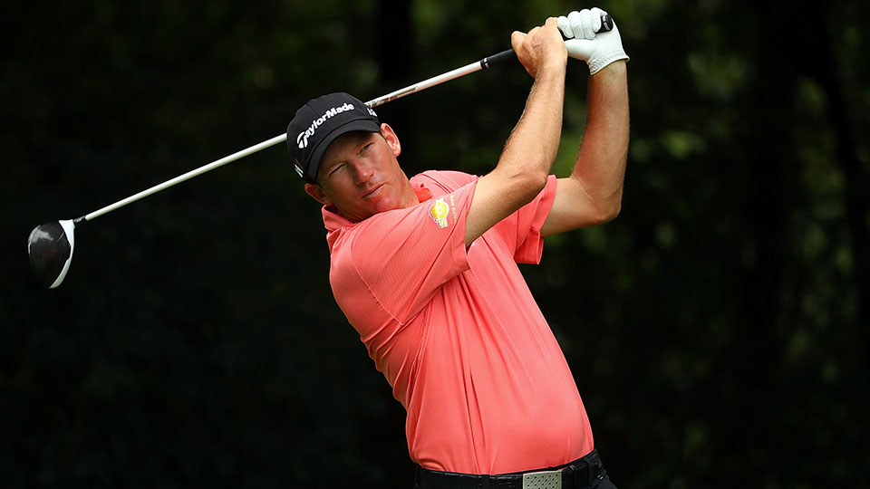 Jim Herman hits his tee shot on the second hole during the second round of the 2016 BMW Championship.