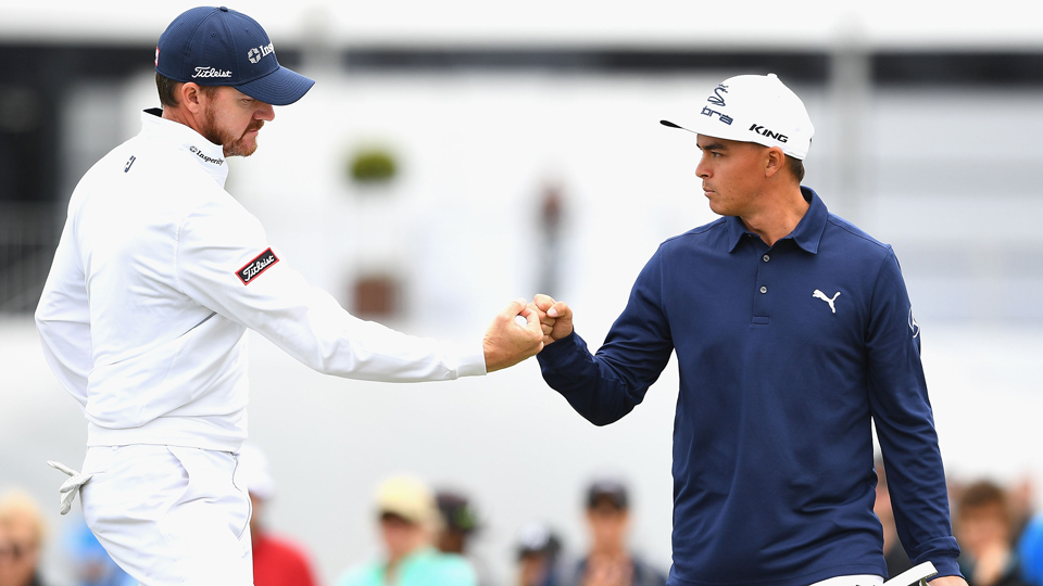The American pair of Jimmy Walker (left) and Rickie Fowler (right) will be in the final pairing Sunday at the World Cup of Golf.