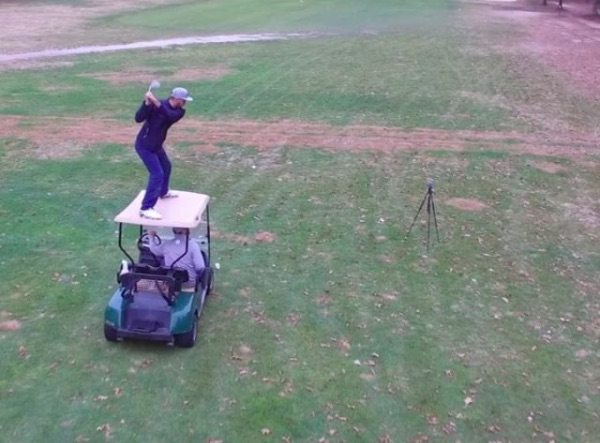 A golfer tested out his sense of balance in this risky trick shot video