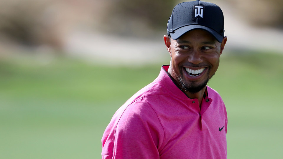 Tiger Woods practices ahead of the 2016 Hero World Challenge in the Bahamas.