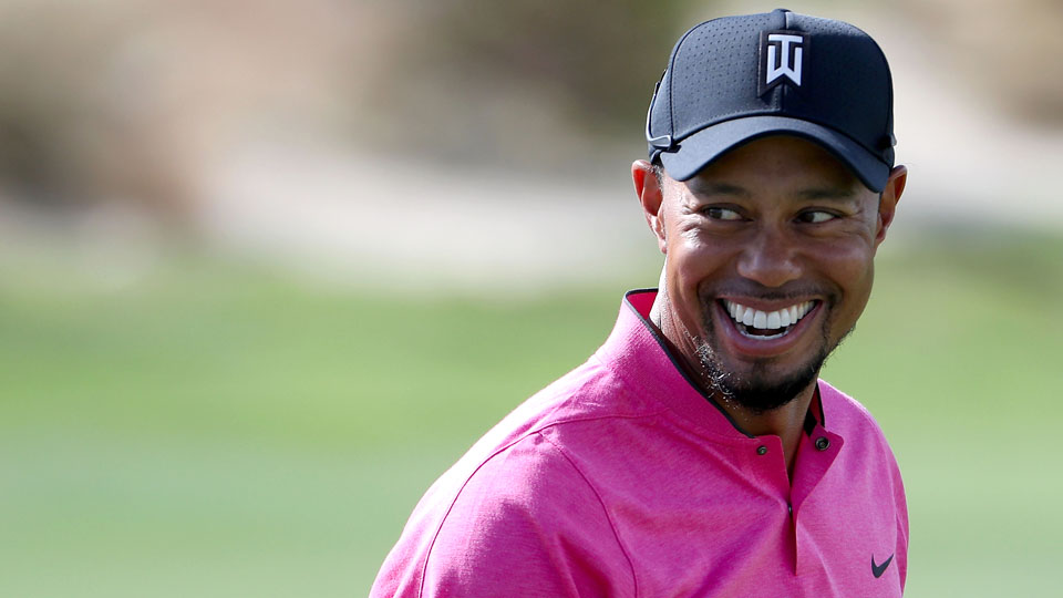 Tiger Woods smiles during the pro-am of the Hero World Challenge on Wednesday.