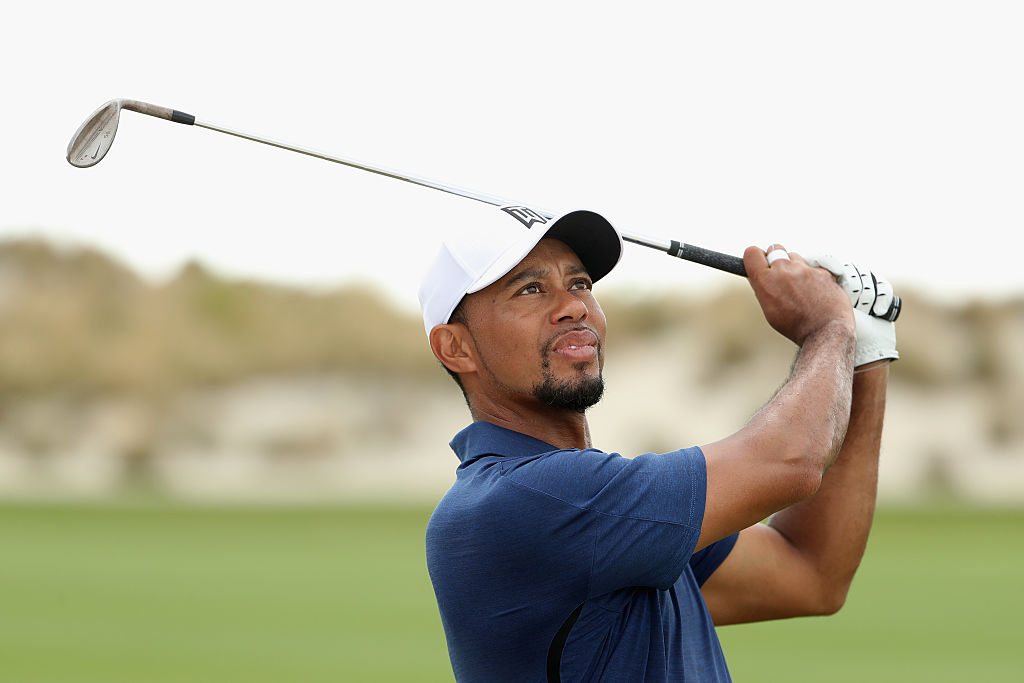 Tiger Woods hits his third shot on the third hole during round two of the Hero World Challenge at Albany in the Bahamas.