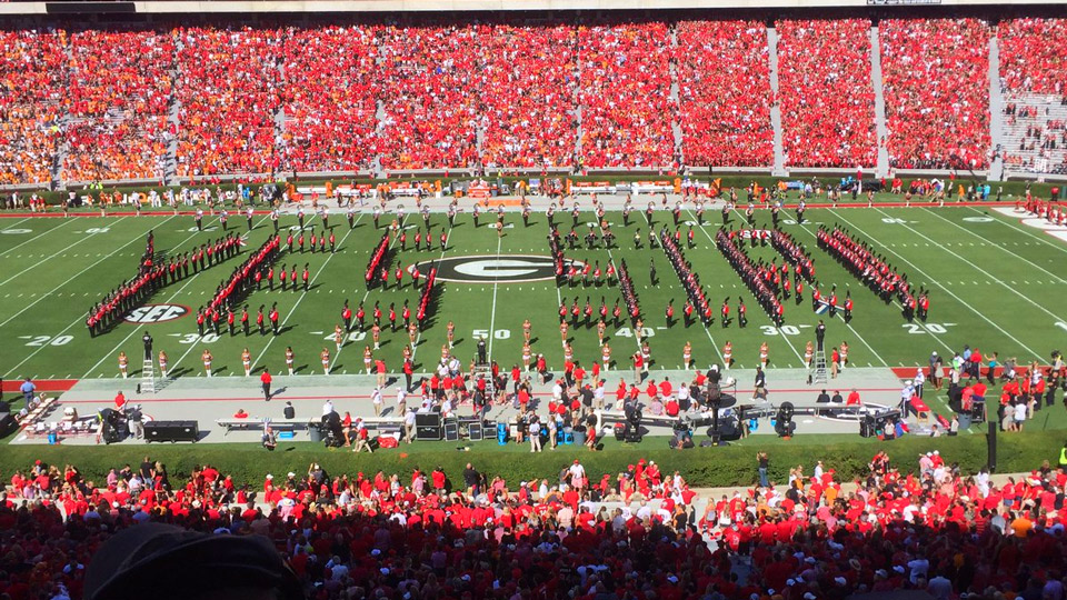The University of Georgia band paid tribute to Verne Lundquist's most famous golf call earlier this year.