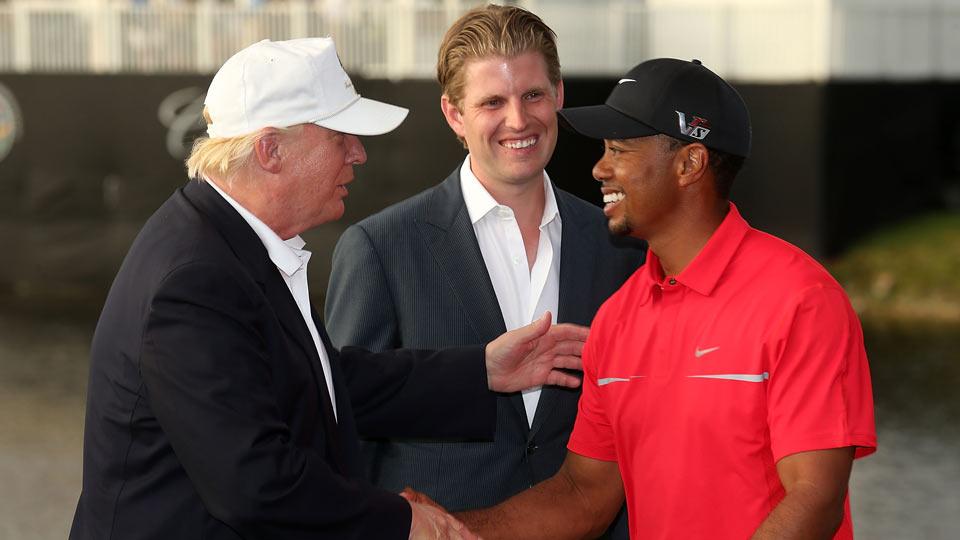 Donald Trump greets Tiger Woods after the 2013 WGC-Cadillac Championship at Trump Doral.