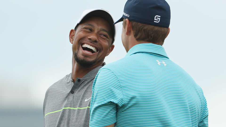 Tiger Woods and Jordan Spieth on Saturday at the Hero World Challenge.