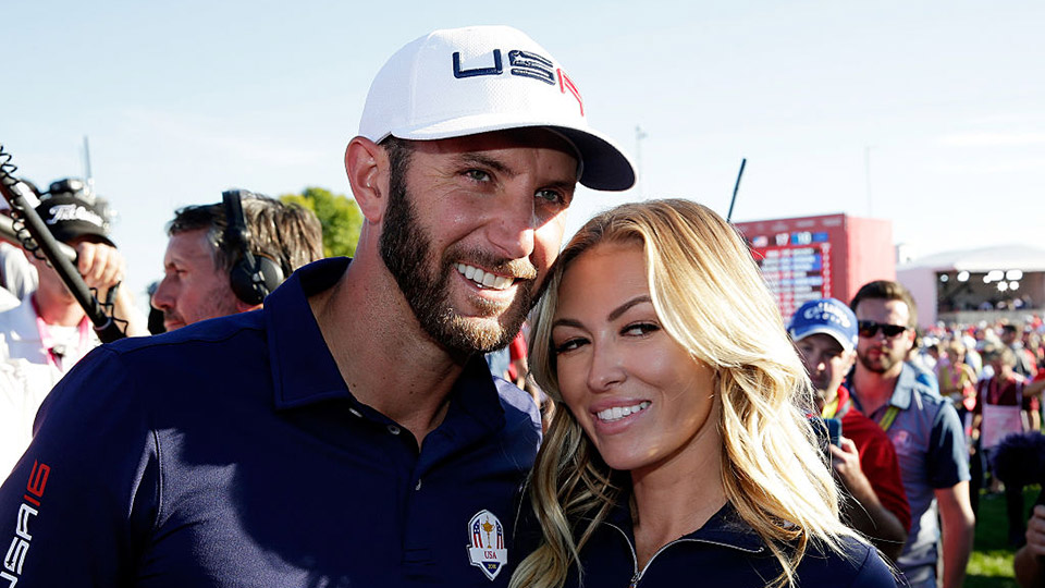 Dustin Johnson and fiancee Paulina Gretzky celebrate after winning the Ryder Cup at Hazeltine.