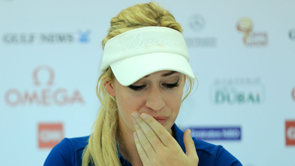 Paige Spiranac teared up while speaking about the mental toll of cyberbullying.