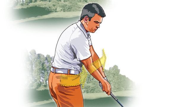 Once you start down with your legs and hips leading the way, everything else follows. As your body turns to face the target, the clubhead should whip through impact, releasing the energy you stored at the top.