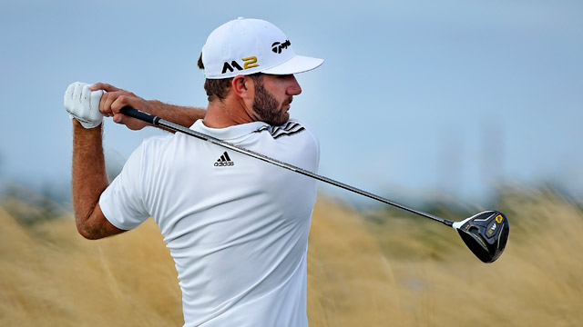 Dustin Johnson hits a drive on the 14th hole during the third round of the Hero World Challenge at Albany course on December 3, 2016.