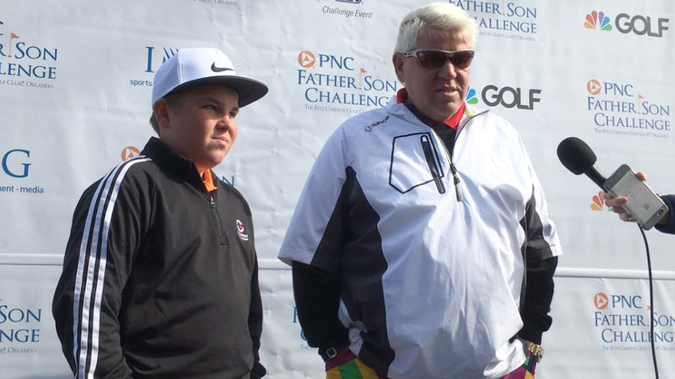 John Daly, and son, Little John, tee off together this weekend.