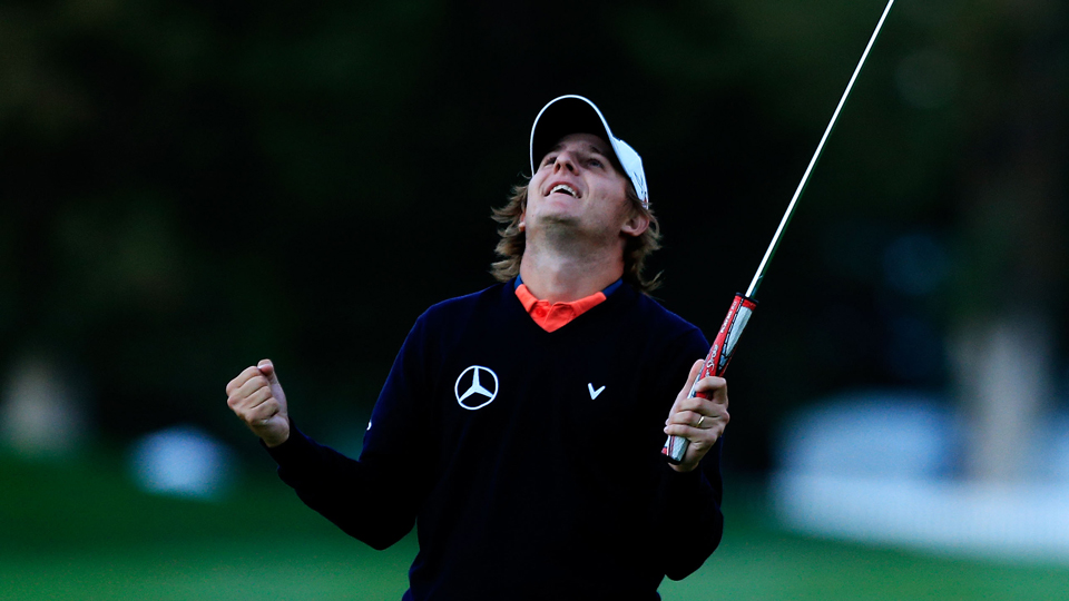 Emiliano Grillo reacts after winning his first PGA Tour event, the 2015 Frys.com Open.