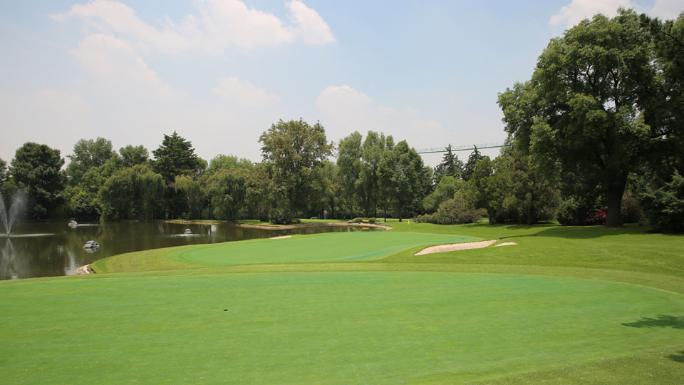 A view of the 17th hole at Club de Golf Chapultepec outside Mexico City.