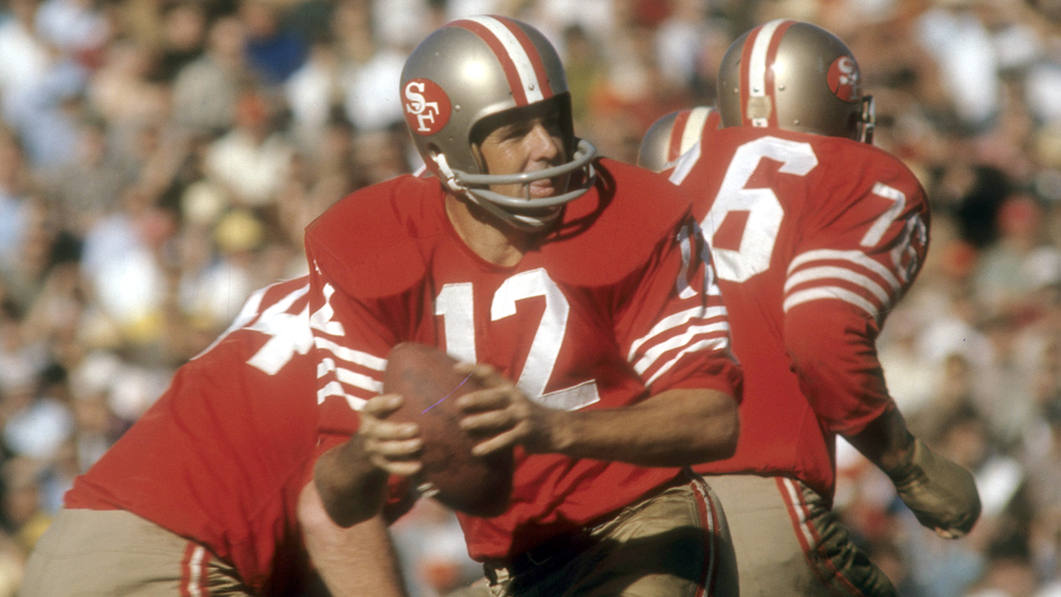 San Francisco 49ers quarterback John Brodie looks for an open receiver against the Detroit Lions during a game in 1967. After the NFL, Brodie went on to play on the Senior tour.