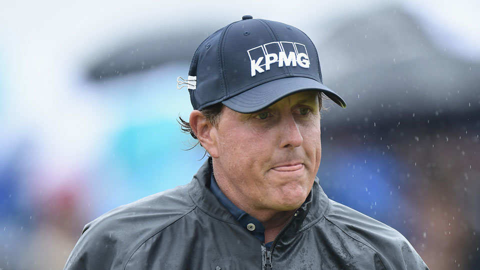 Phil Mickelson used a clip to keep his hat on for two straight weeks across the pond.