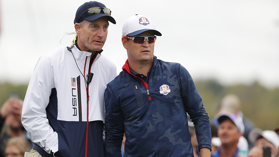 Jim Furyk, talking with Zach Johnson during the 2016 Ryder Cup, will lead the U.S. as the 2018 Ryder Cup captain.