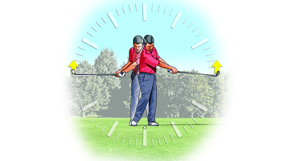 At both points of the clock, the toe of the club should point at the sky.